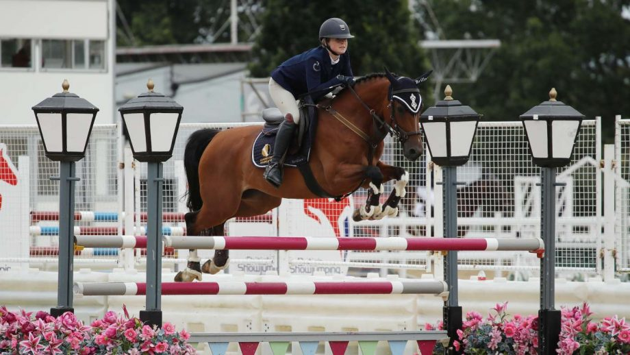 Abi Leadbetter and Hearts Cruise win the British novice final at the British Showjumping national championships