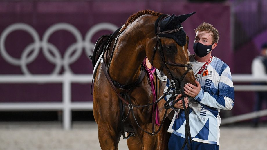 Groom Cormac Kenny with Explosion W at the Tokyo Olympics