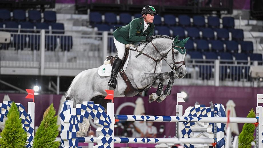 Darragh Kenny riding Cartello in the Olympic showjumping individual qualifier at the Tokyo 2020 Olympic Games