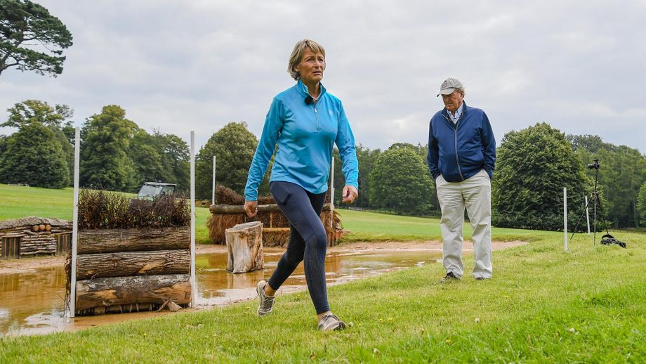MaryKing walks the Chedington Bicton Horse Trials cross-country course with course designer Mark Phillips