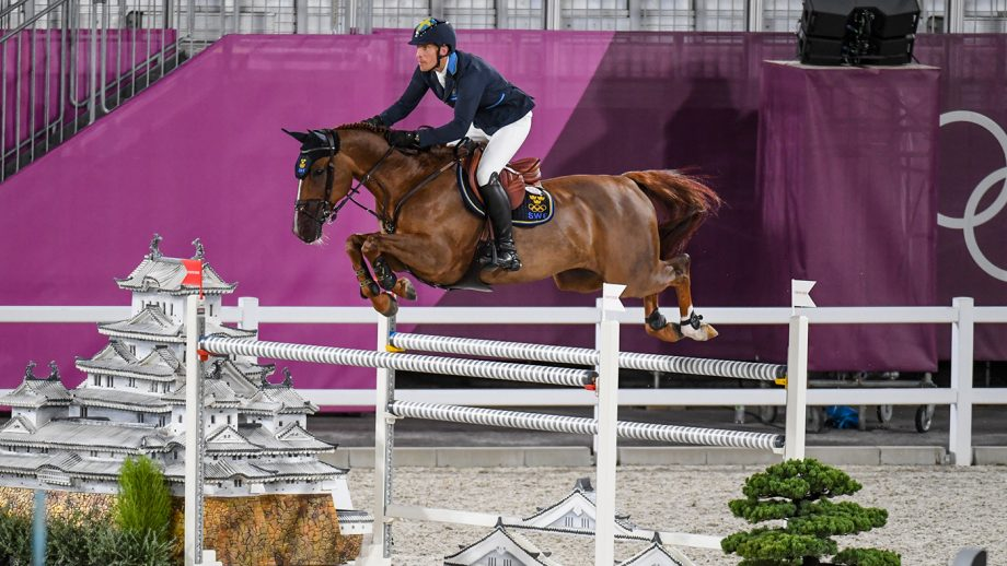 Henrik von Eckermann riding King Edward in the Olympic team showjumping qualifier at the Tokyo 2020 Olympic Games