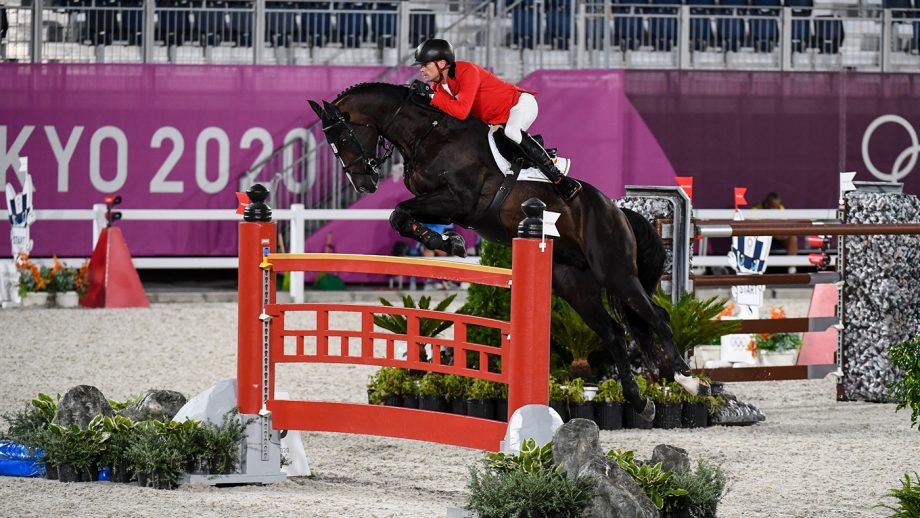 Jerome Guery riding Quel Homme De Hus in the Olympic team showjumping final at the Tokyo 2020 Olympic Games
