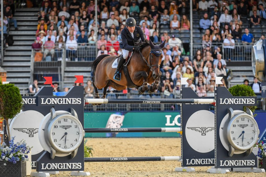 John Whitaker and Unick Du Francport competing in the London GCT grand prix