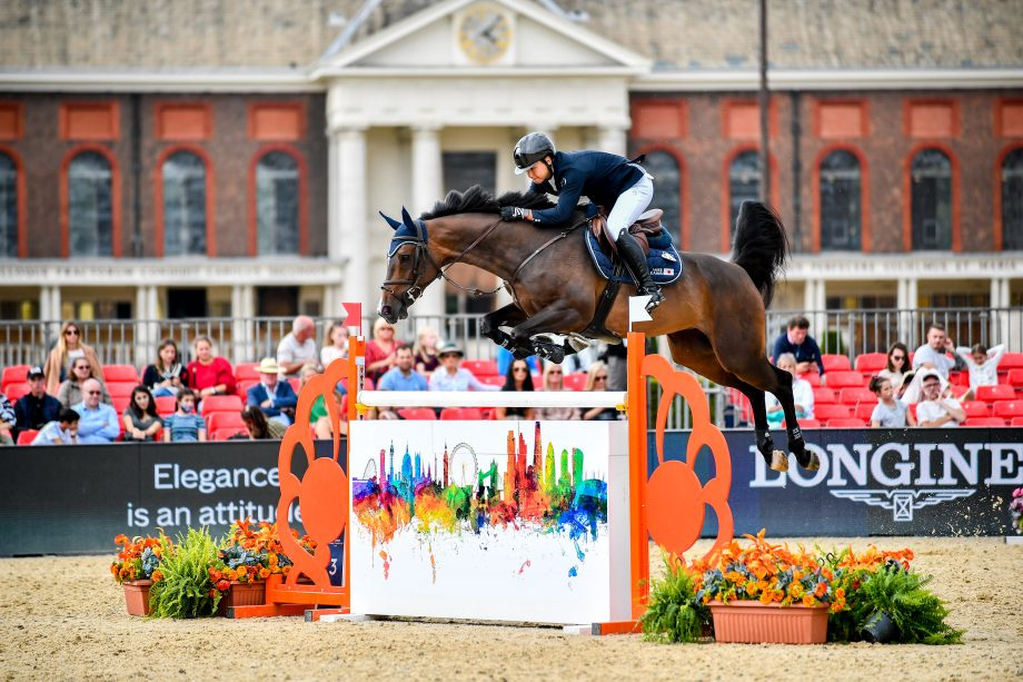 Japanese showjumper Mike Kawai and Star winning the first five-star class at the Longines Global Champions Tour of London