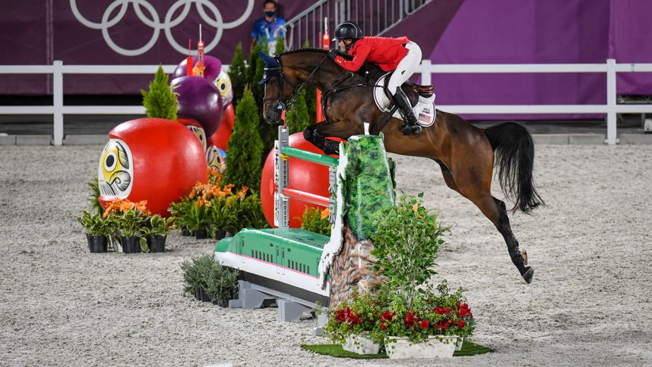 Tokyo Olympics jump off Laura Kraut riding Baloutinue in the Olympic team showjumping qualifier at the Tokyo 2020 Olympic Games