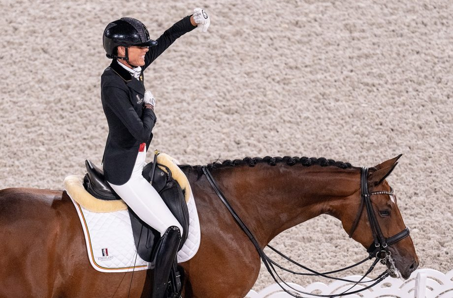 Belgium's Michele George celebrates her super score in the individual grade V competition at the Tokyo Paralympics
