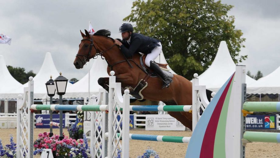 Ben Walker and Fygo Von D'Ouwe Grint win the national speed horse final at the British Showjumping national championships