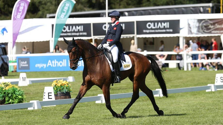 Nicola Wilson is the overnight leader in the CCI 4* L at the 2021 Land Rover Blair Castle Horse Trials on a dressage score of 29.4