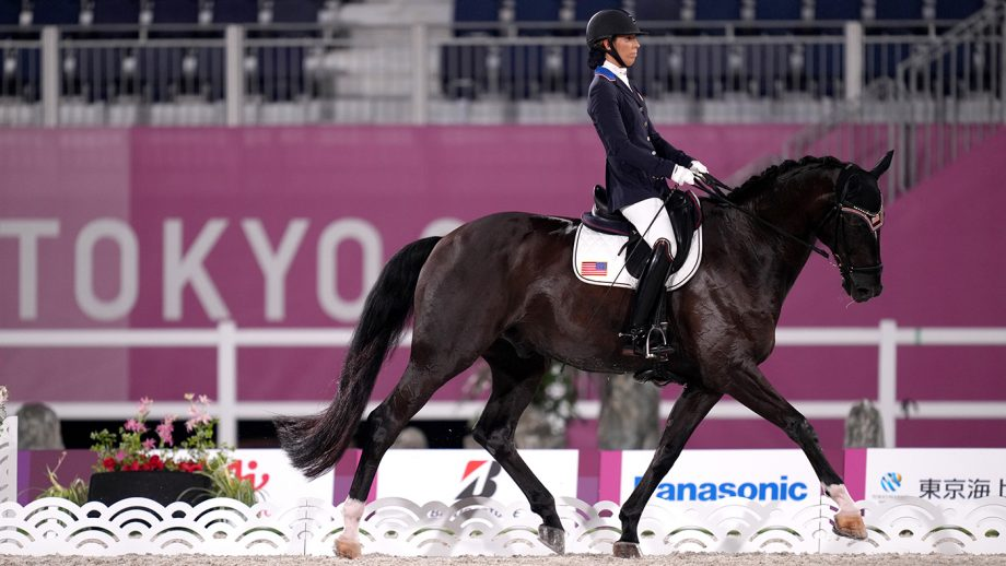The USA's Solitaer 40 and Kate Shoemaker in the Paralympic dressage in Tokyo
