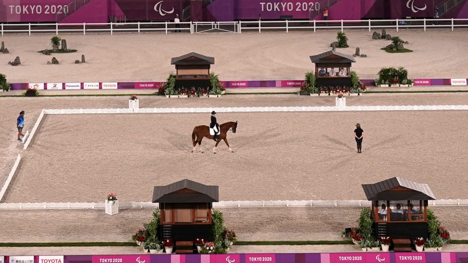 Katja Karjalainen and Dr Doolittle make their entrance into the arena for their final Paralympic dressage competition