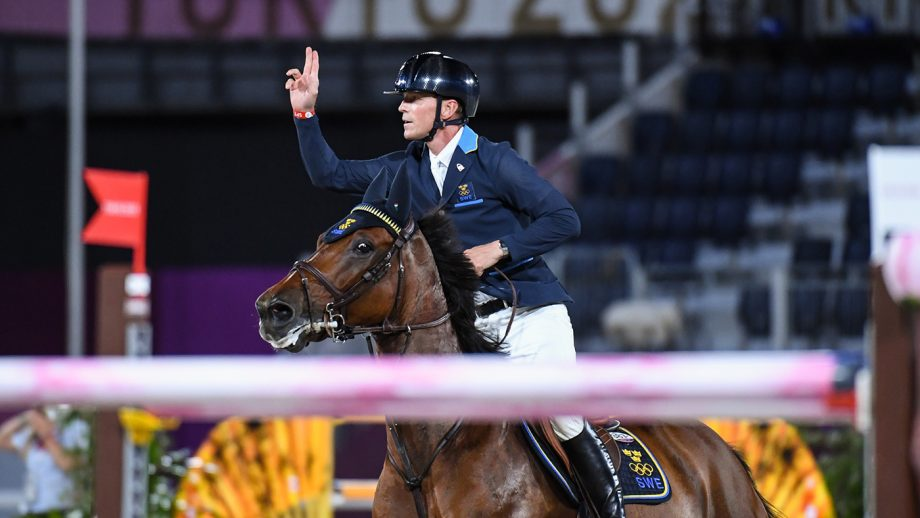 Peder Fredricson riding All In celebrates after his round in the Olympic team showjumping final at the Tokyo 2020 Olympic Games