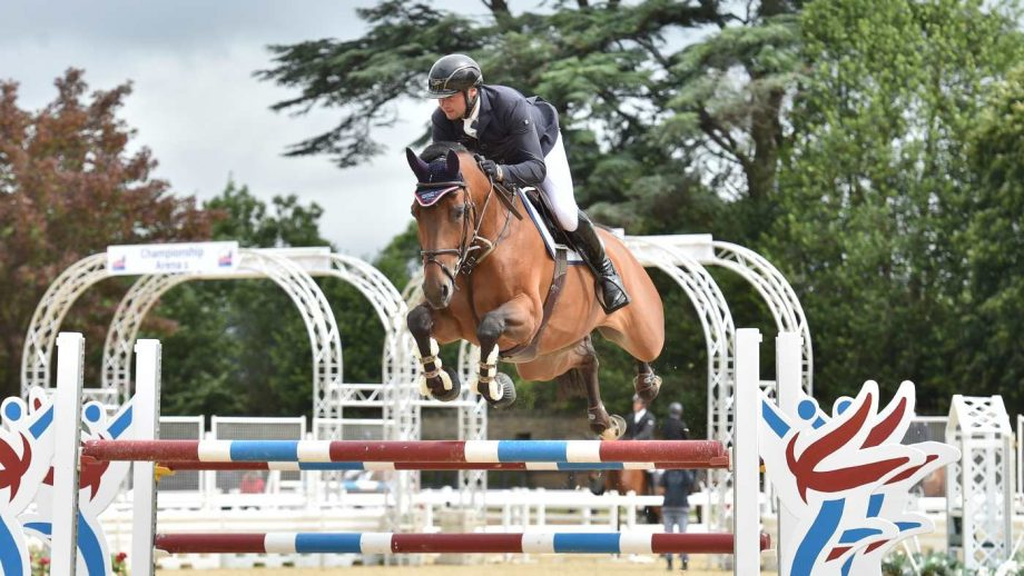 Ronnie Lee Jones and Kaleche win the Prestige Italia Big Star six-year-old final at the British Showjumping national championships