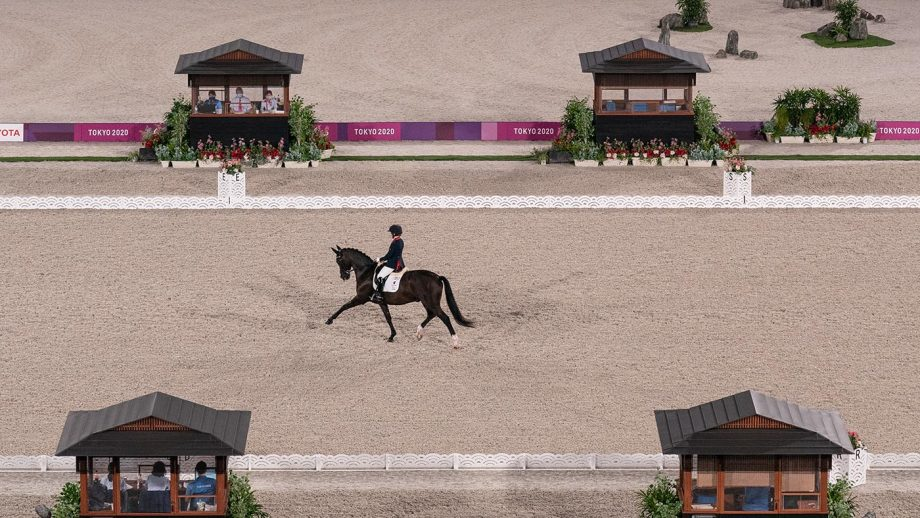 Sophie Wells riding Don Cara M at the Tokyo 2020 Paralympics dressage