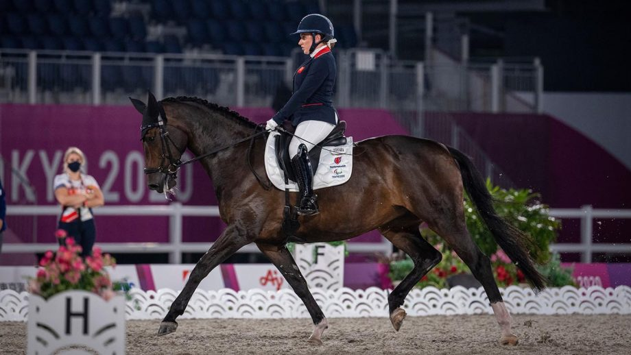 Natasha Baker riding Keystone Dawn Chorus in the Tokyo Paralympics dressage team competition