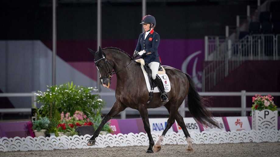 Sophie Wells and Don Cara M in the team dressage competition at the Tokyo Paralympic Games