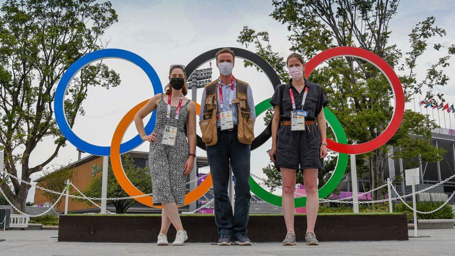 H&H's Polly Bryan, Peter Nixon and Pippa Roome at the Yokyo Olympics