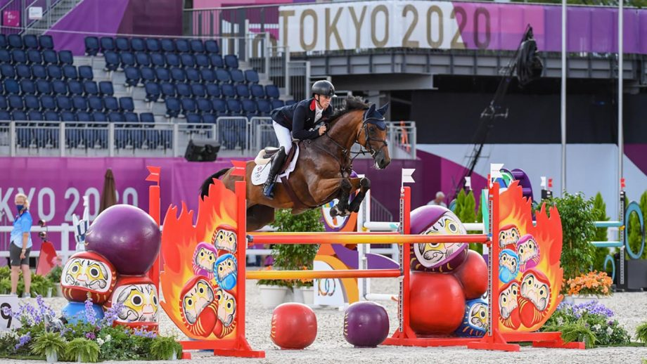 Olympic eventing showjumping: Tom McEwen on his way to winning Olympic eventing individual silver medal