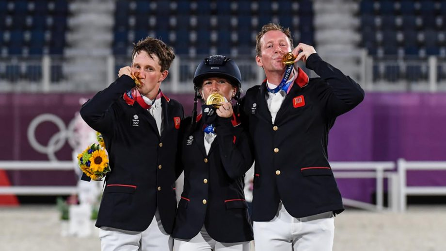 The British eventing team celebrate winning team gold at the Tokyo 2020 Olympic Games