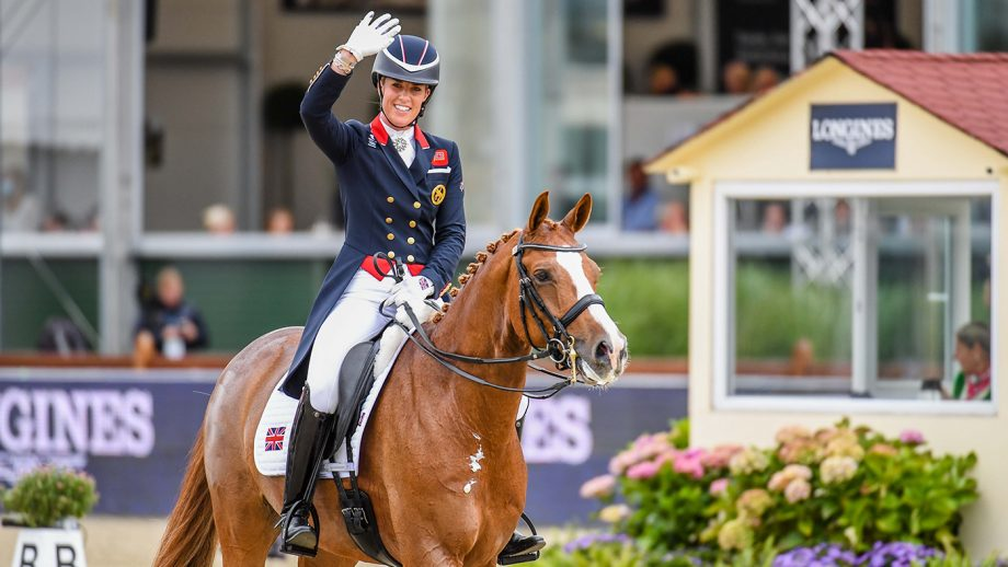Charlotte Dujardin waves to the crowds after her bronze medal-winning freestyle at the European Dressage Championships