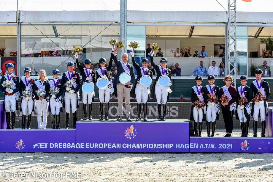 European Dressage Championships podium 2021