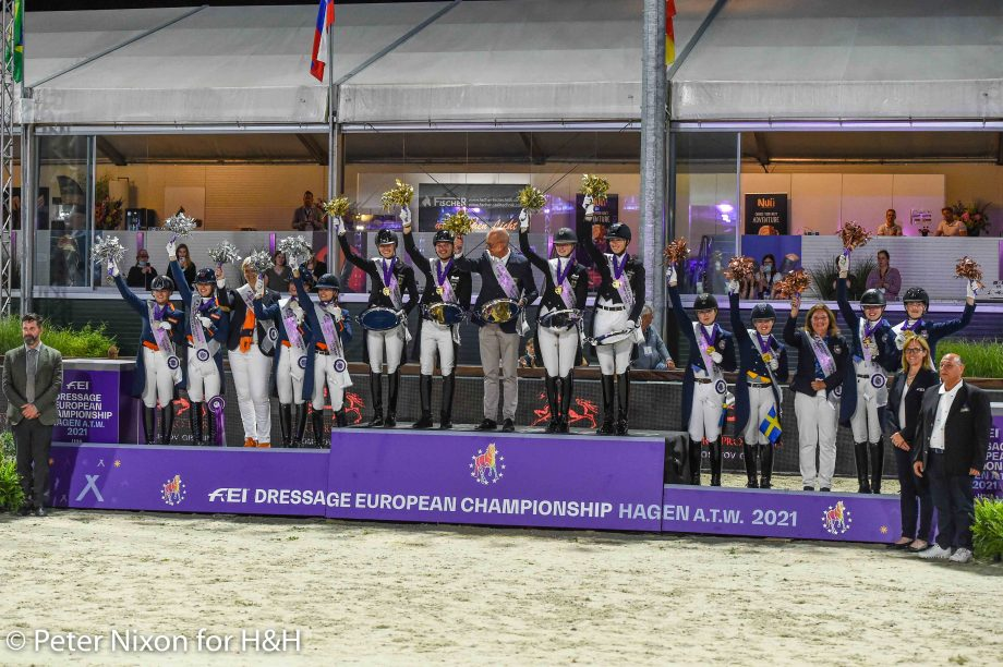 under-25 European Dressage Championship 2021 podium: Germany win gold, The Netherlands win silver and Sweden win bronze