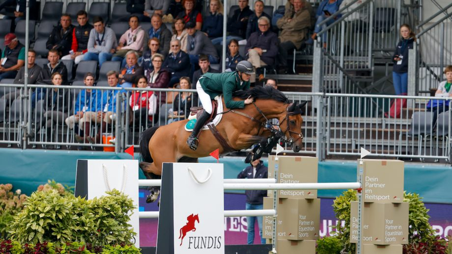 Michael Duffy and Zilton SL Z in round one of the European Showjumping Championships