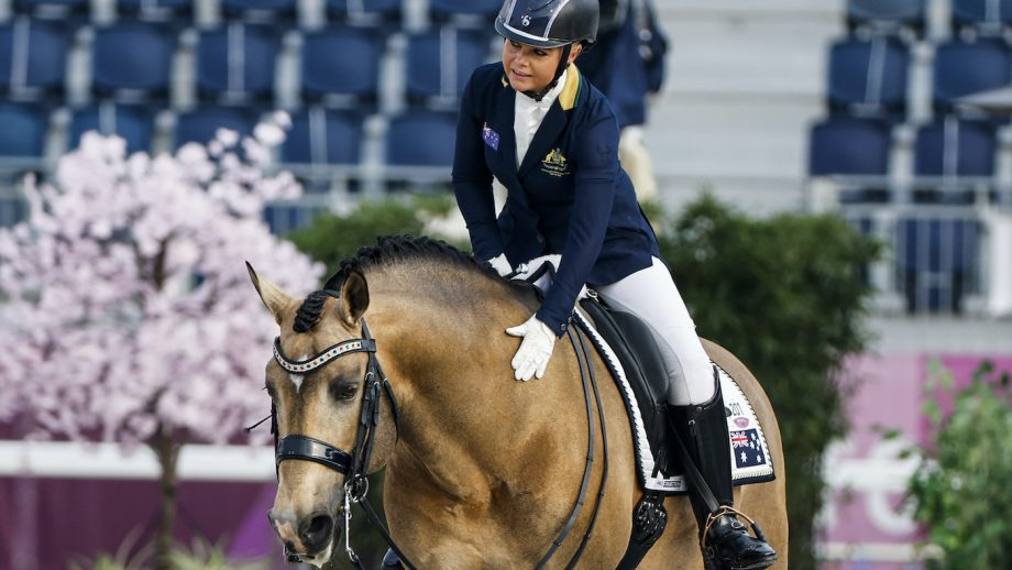Tokyo Paralympics buckskin stallion Celere ridden by Victoria Davies, from Australia