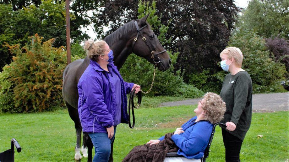 Retired racehorse Ouzbeck has been visiting a care home as part of a heartwarming new pilot scheme.