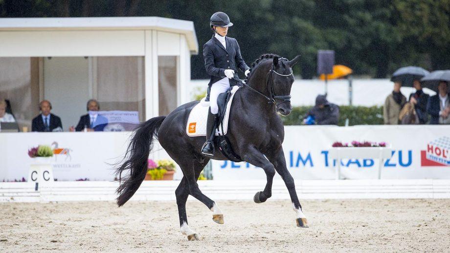 Lottie Fry on Kjento at the world breeding championships for young dressage horses