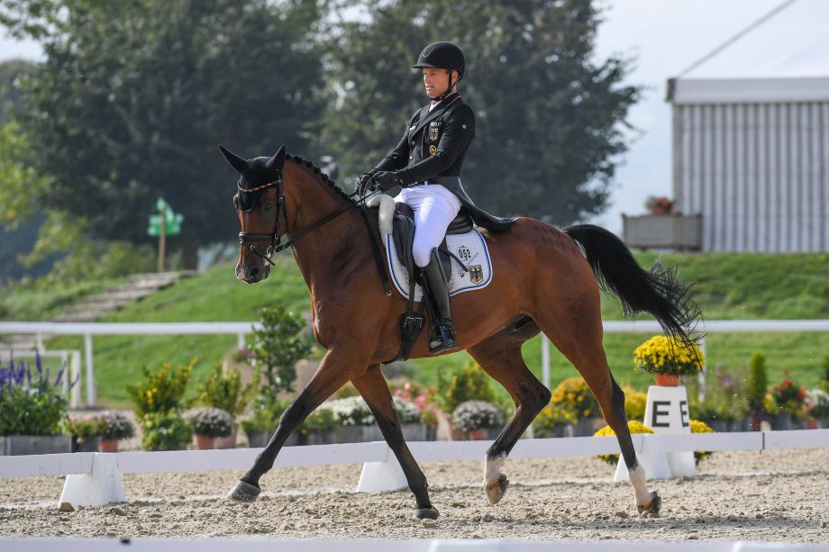 Eventing European Championships dressage Michael JUNG (GER) riding fischerWild Wave during the dressage phase at the FEI Eventing European Championships at Avenches held at IENA in Switzerland between the 23-26 September 2021