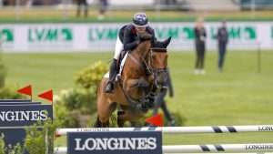 Emily Moffit and Winning Good in the first round of the European Showjumping Championships in Riesenbeck