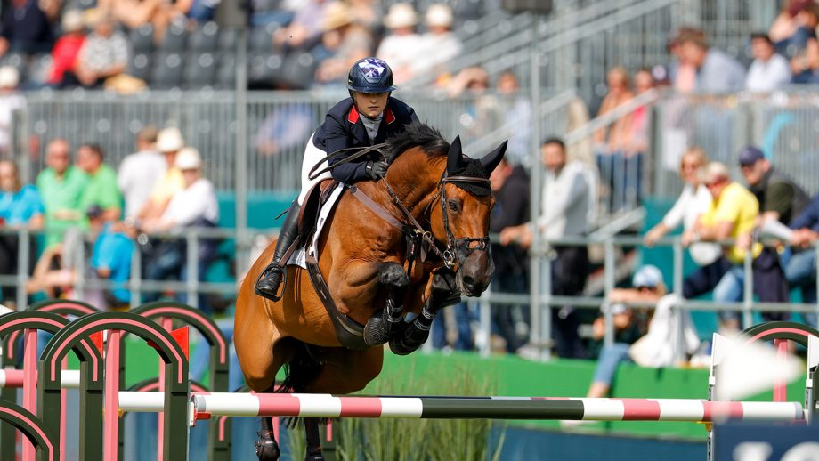 Emily Moffitt riding Winning Good in the first round of the team competition at the European Showjumping Championships