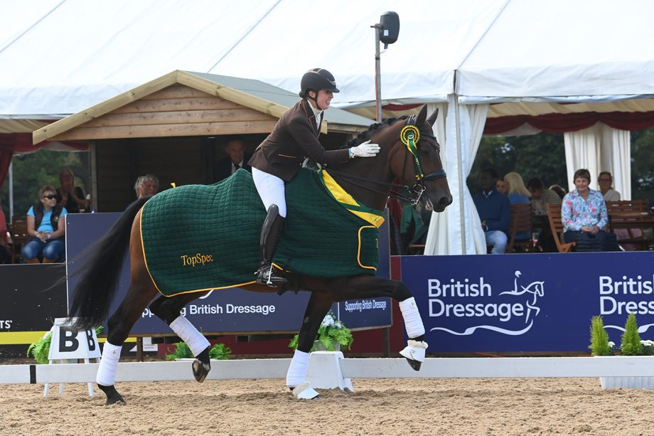 Becky Moody and Jack Diamond at the national dressage championships