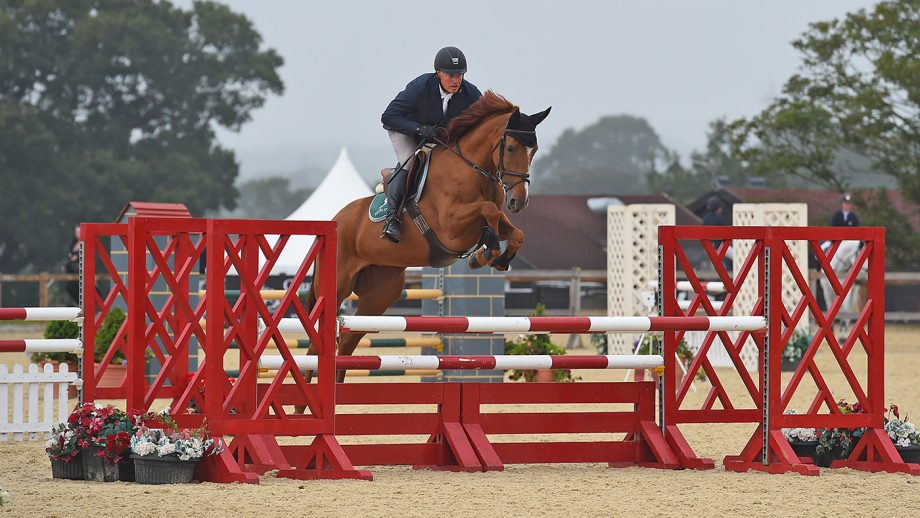 Keith Doyle and Renkum Oriana on their way to winning the The Coldstream Five-Year-Old Final at the NEXGEN championships.