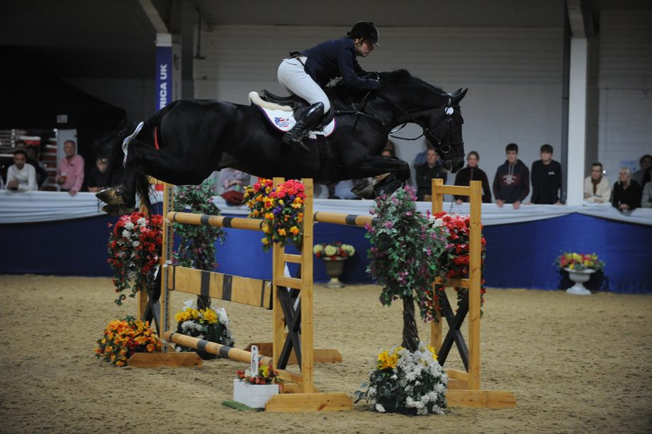 Robert Whitaker riding Vermento in the grand prix at the Arena UK Major Showjumping Championships