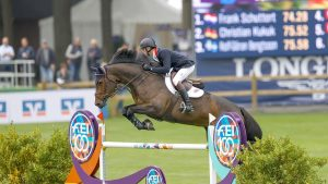 Joe Stockdale riding Equine America Cacharel in the first round of the European Showjumping Championships