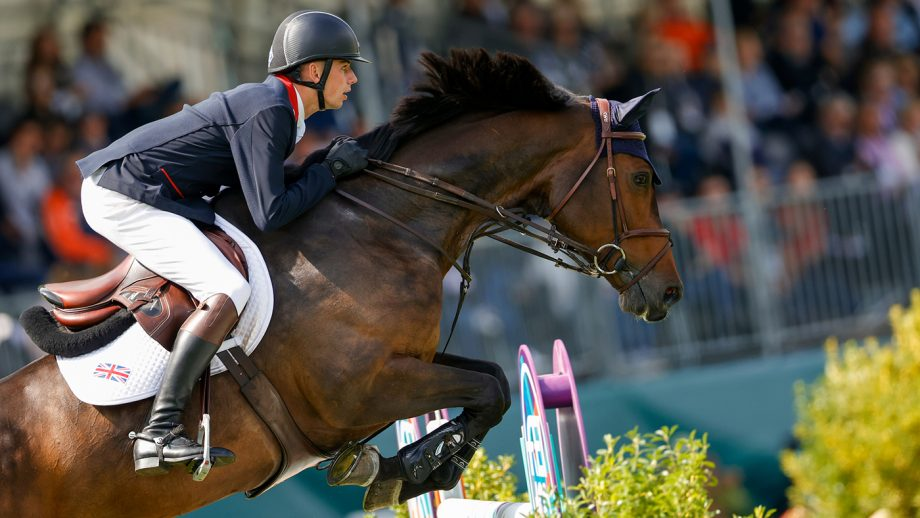 Joe Stockdale riding Equine America Cacharel in the first round of the team competition at the European Showjumping Championships