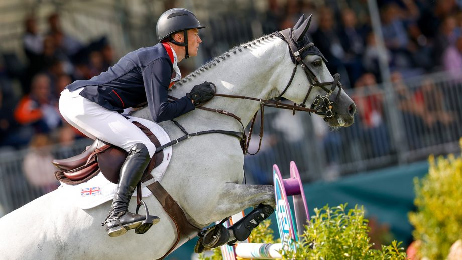 William Whitaker and Galtur in the first round of the team competition at the European Showjumping Championships