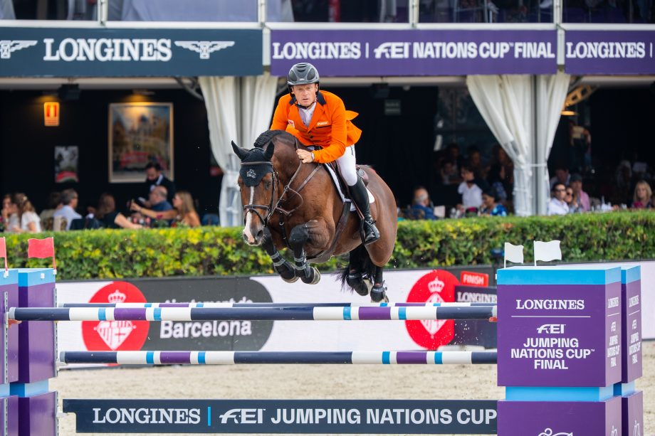 Willem Greve and Carambole jumping for the Netherlands at the Nation Cup Final in Barcelona, Spain