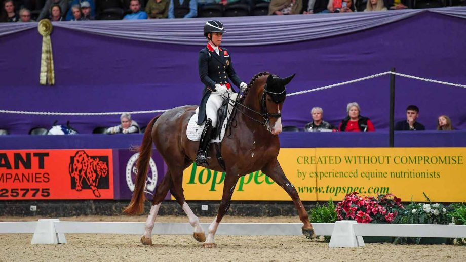 Charlotte Dujardin and Imhotep win the Dressage Future Elite class at HOYS