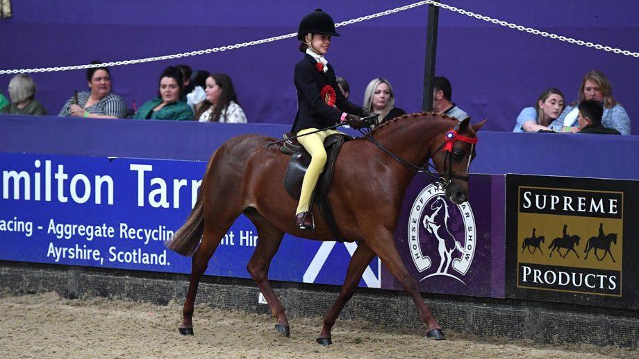 HOYS 128cm childrens riding pony winner Kellythorpe Tiny Dancer (Gillie) ridden by Cate Kerr