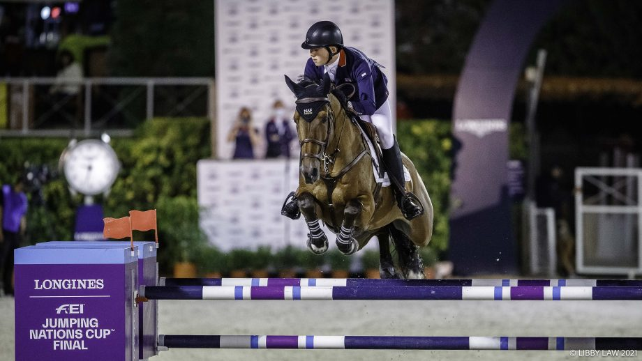 Harry Charles and Romeo 88 jump clear for Great Britain in round one of the Nations Cup Final in Barcelona, Spain