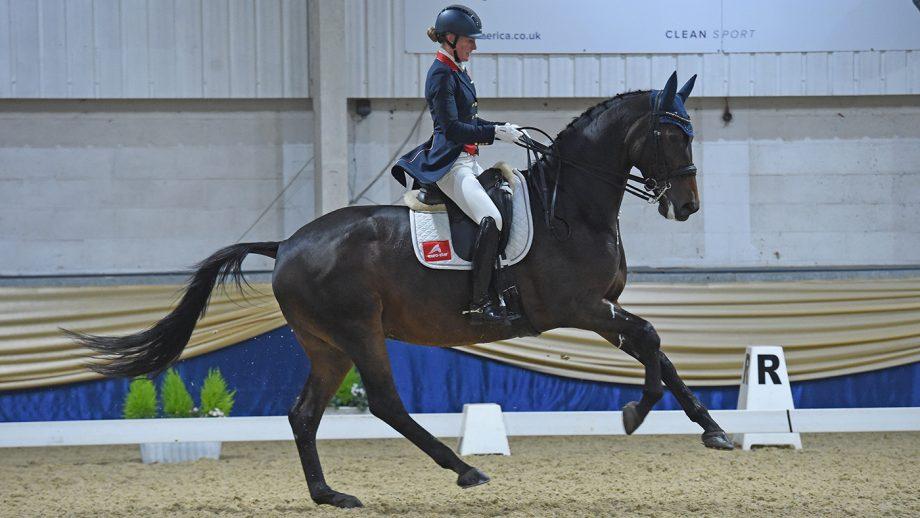 LARA BUTLER riding KRISTJAN at Keysoe CDI