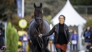 Pau Horse Trials dressage times: defending champion Laura Collett pictured with her 2021 ride, Dacapo