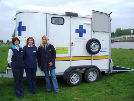 The Blue Cross equine ambulance, supported by Fort Doge Animal Health and Petplan Equine