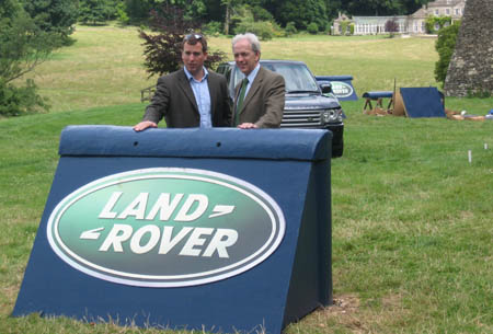 Peter Phillips and Ian Stark at the new Land Rover fences at Gatcombe