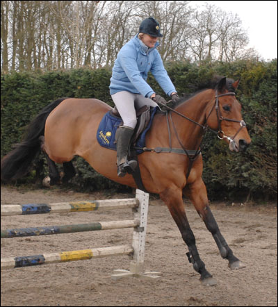 Lucinda Green is impressed by Spring Along's jump