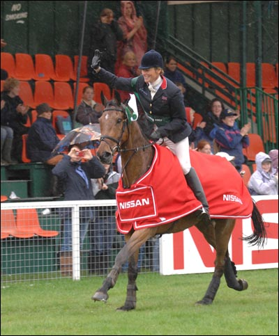 Mary King celebrates after winning the FEI World Cup Qualifier at Chatsworth 2007
