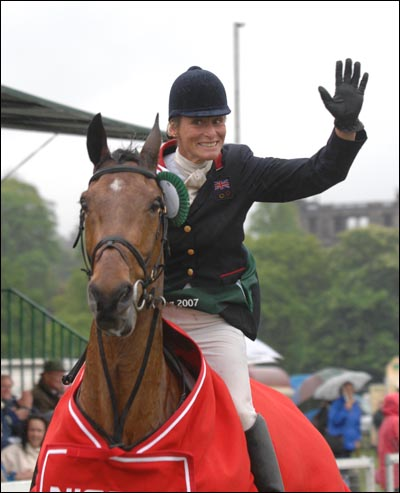 A jubilant Mary King shows her delight at winning the World Cup qualifier on Call Again Cavalier at the Chatsworth Nissan International Horse Trials