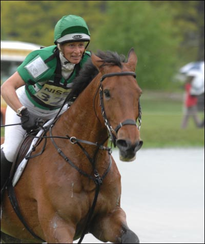 Mary King looks focused as she tackles the cross-country at the 2007 Chatsworth World Cup qualifier